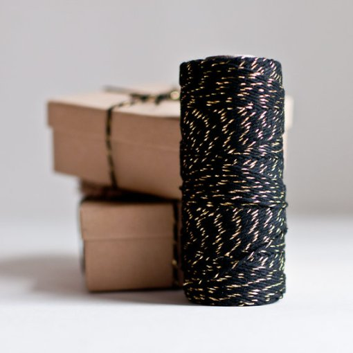 Black & Gold Metallic Baker's Twine