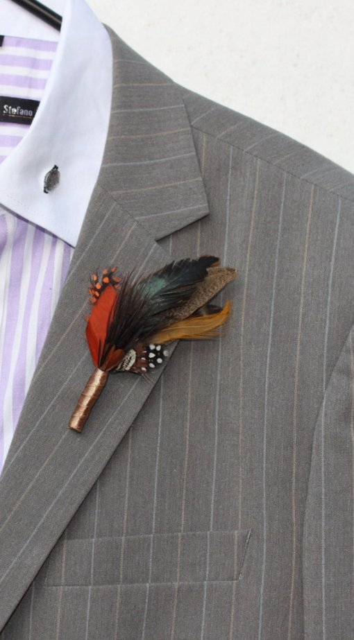 Feather Boutonnière
