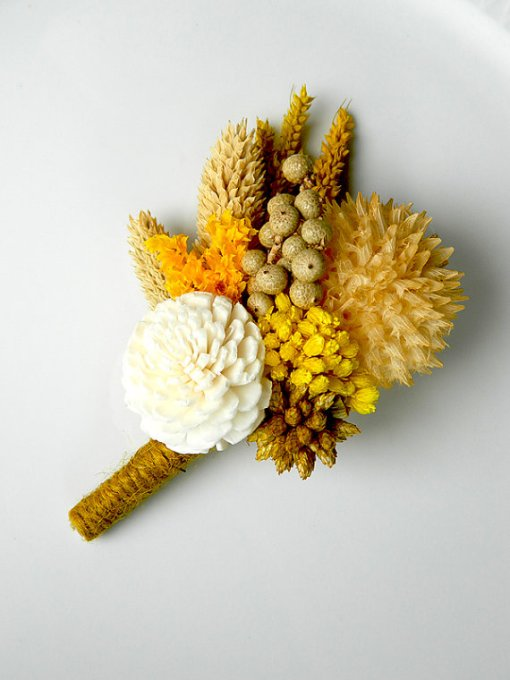 Mustard Cream Cone - Yellow Ivory Brown Boutonniere