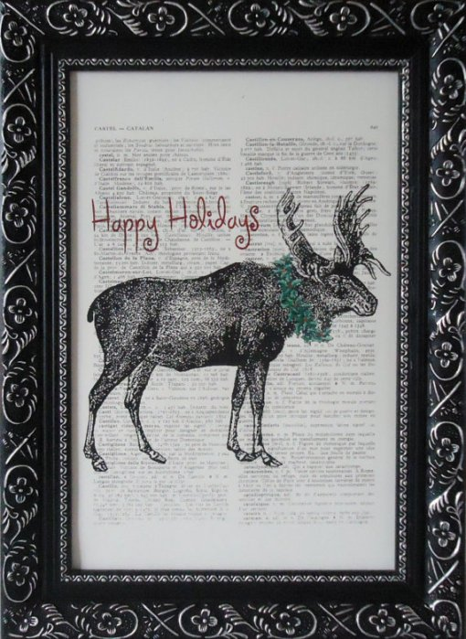 christmas moose book art