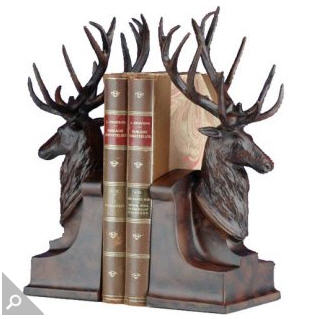 Deer Head with Large Antlers Bookends