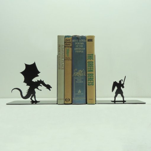Dragon & Knight Metal Art Bookends