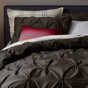 Organic Cotton Pintuck Duvet Cover + Shams - Slate