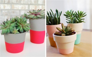 Colorblock Painted Terra Cotta Planters