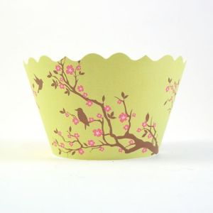 Cupcake wrappers - Meisha- Bird & Blossom (Green)
