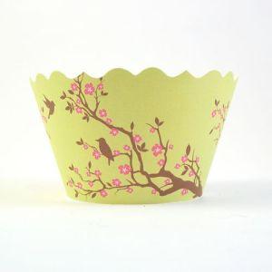 Cupcake wrappers - Meisha- Bird & Blossom (Green)