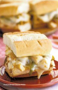 french bread chicken melts