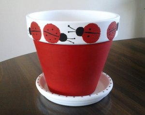 Lady Bug Painted Clay Pot