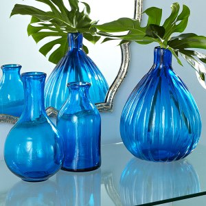 blue milk bottle vase