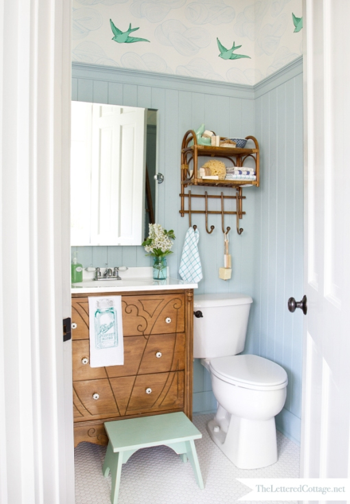 Powder Bath Makeover by The Lettered Cottage - Click on photo to pin from original source.