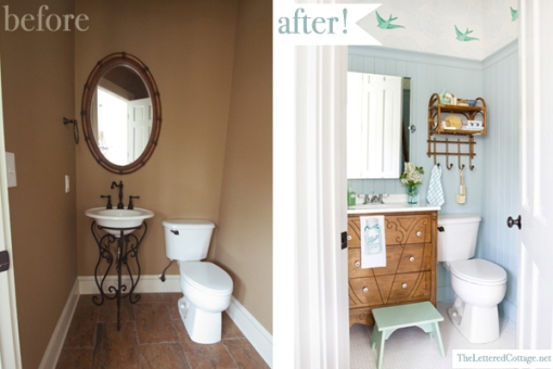 Before & After - Powder Bath Makeover by The Lettered Cottage - Click on photo to pin from original source.