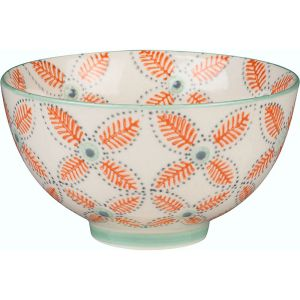Orange Floral Ceramic Bowl